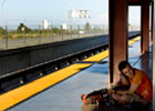 Man on station platform